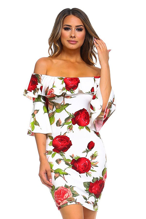 Buy Floral Off Shoulder Ruffle Dress online by Fit Miami Style for $39.99