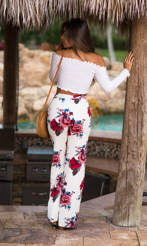 High Waist Floral Print Pants Fit Miami Style