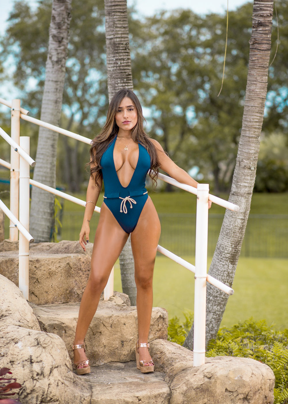 Fit Miami Style Navy Blue Nude Rope Drawstring Swimsuit