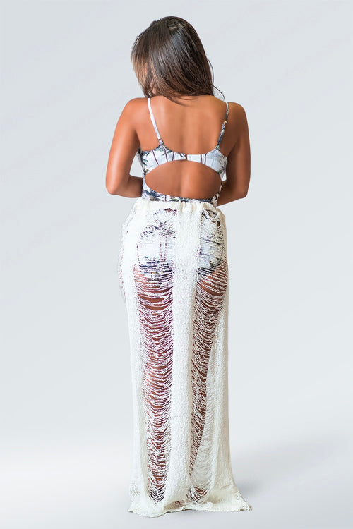 Fit Miami Style Tie Around Maxi Skirt Cover Up