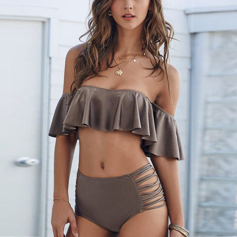 buy High Waist Bikini Set Swimsuit Swimwear Brown online by Fit Miami Style for $23.99