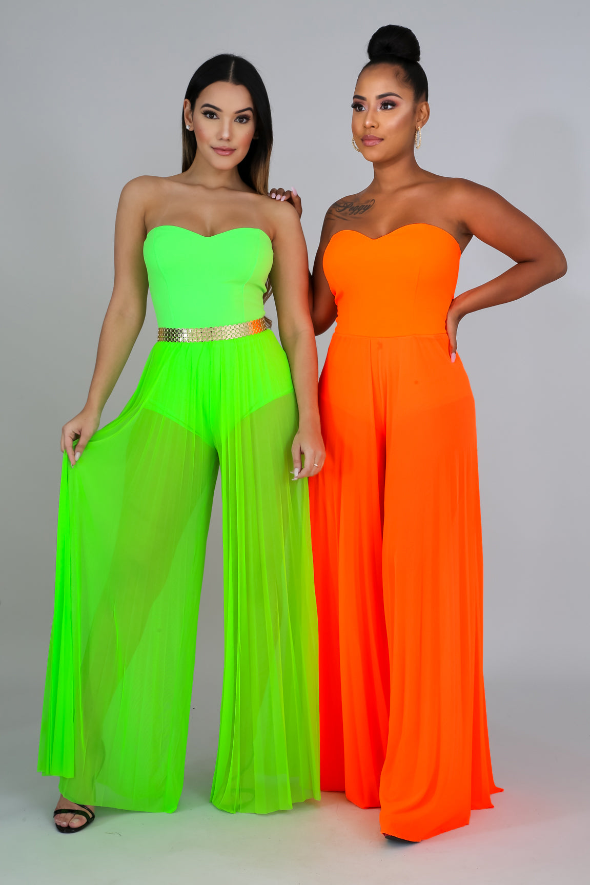Karina Orange Neon Sheer Pleated Jumper