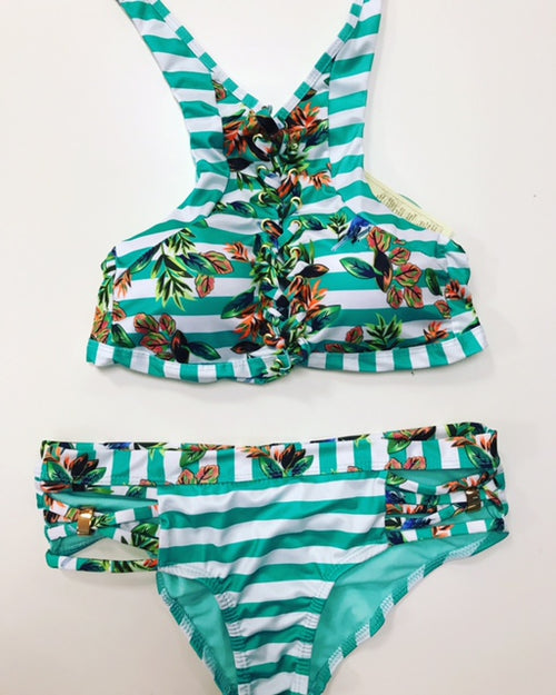 buy High Neck Floral Bikini Set Swimsuit online by Fit Miami Style for $41.99