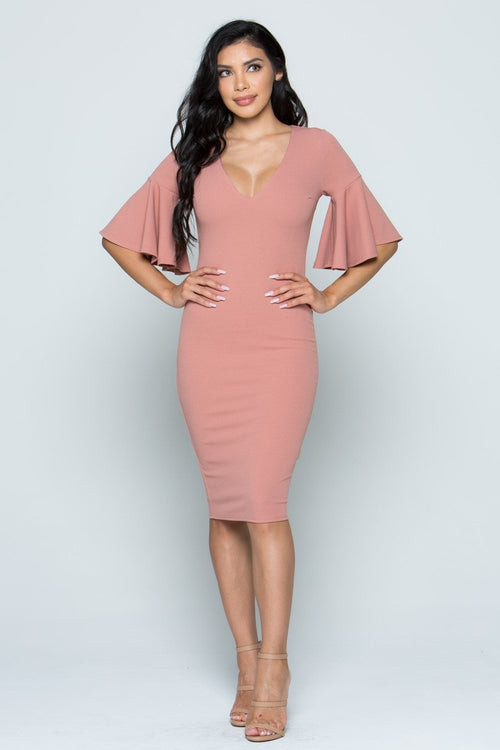 Fit Miami Style Plunge Front Midi Dress