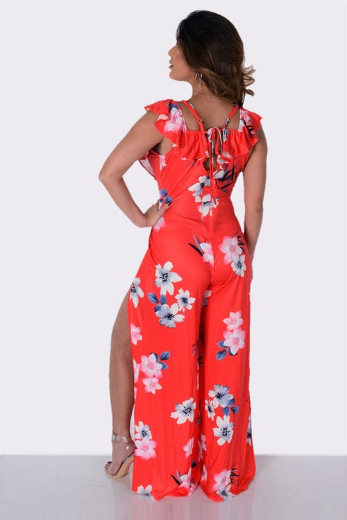 Buy Red Printed Slit Sling Jumpsuit online by Fit Miami Style for $28.99