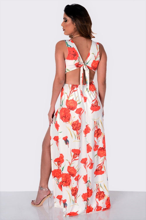 Buy Floral Print Cut Out Slit Maxi Dress online by Fit Miami Style for $29.99