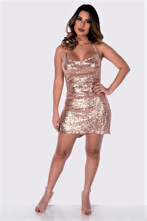 Buy Sequins Cowl Neck Open Back Dress Rose Gold online by Fit Miami Style for $29.99