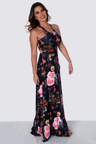 Buy Full Back Halter Strappy Hollow Out Floral Print Dress online by Fit Miami Style for $27.99