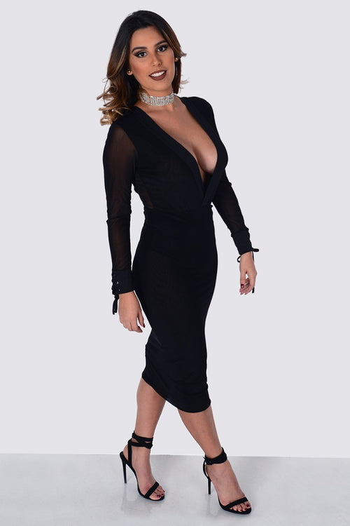 Mesh Deep See Through Dress