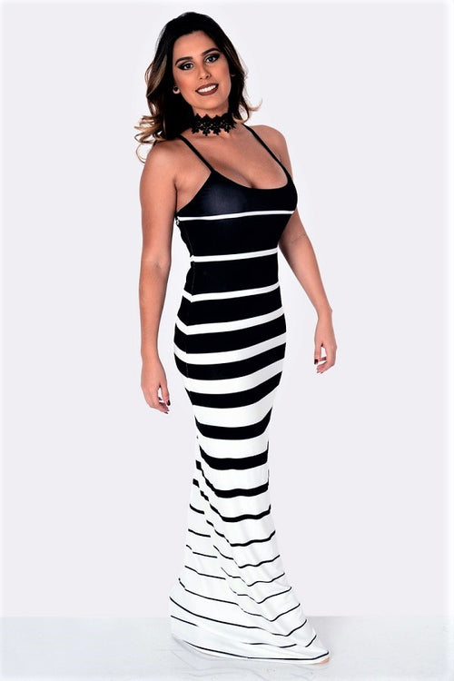 Buy Black White Stripe Sling Dress online by Fit Miami Style for $27.99