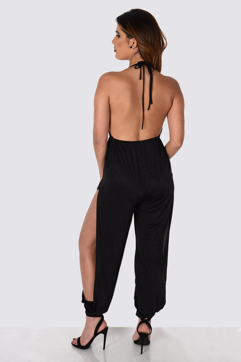 Black Slit Jumpsuit