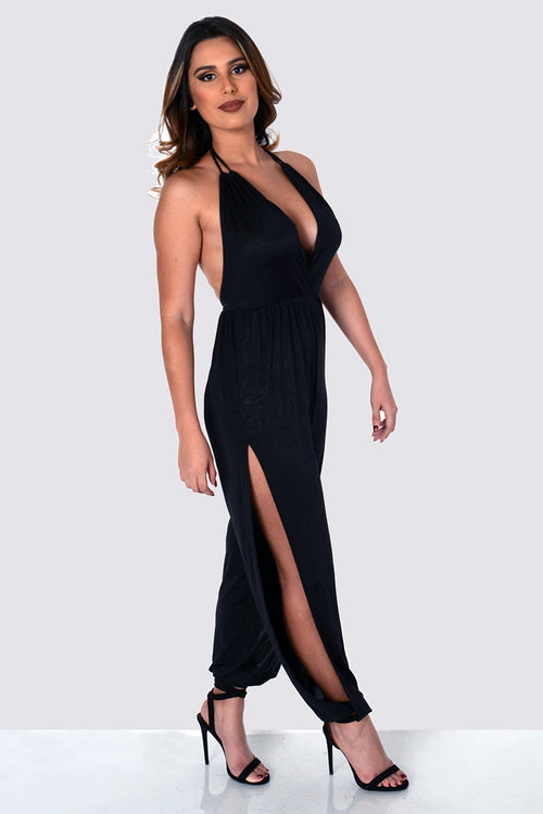 Buy Black Slit Leg Harem Jumpsuit online by Fit Miami Style for $38.99