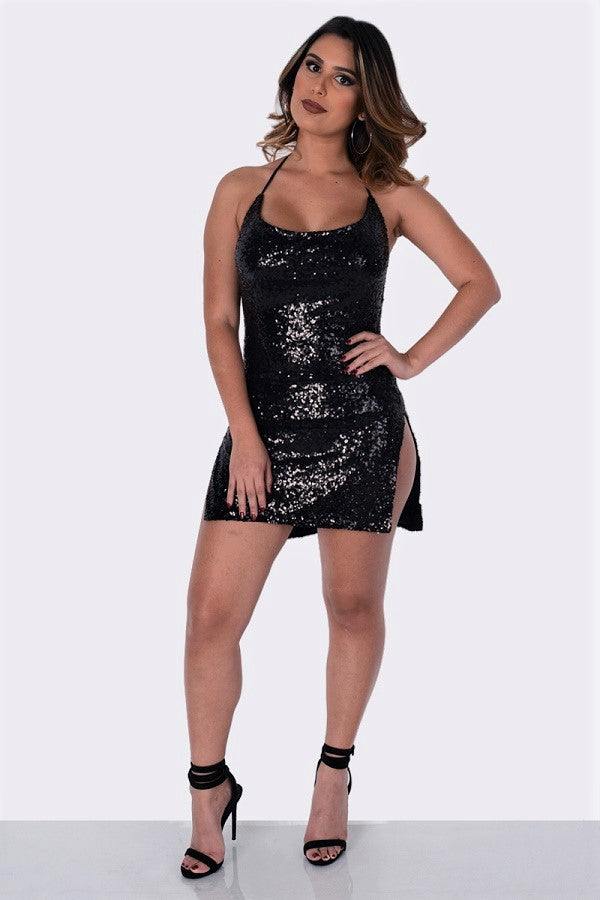 Buy Sequins Cowl Neck Open Back Dress Rose Black online by Fit Miami Style for $29.99