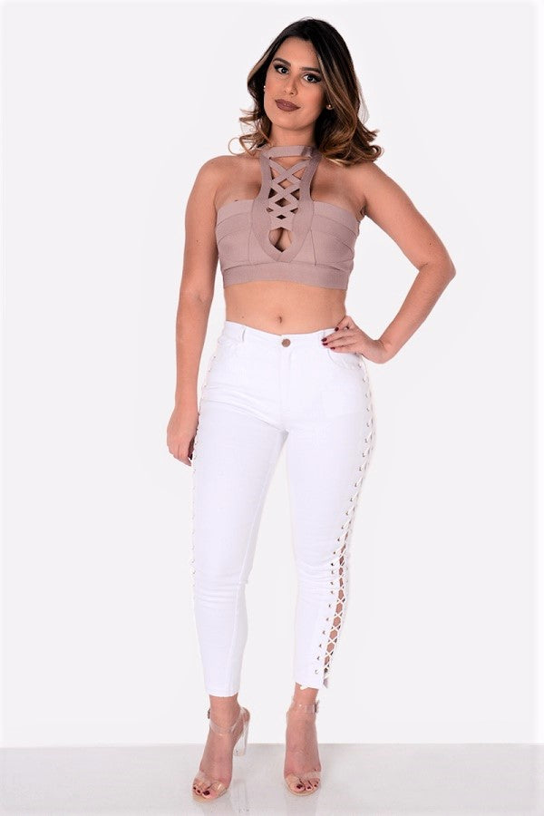 Fit Miami Style Crisscross Detail Bandage Top