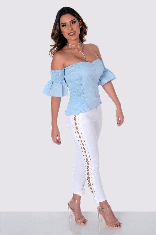 Side Lace Up Pants White