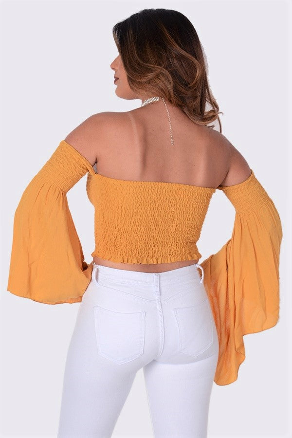 Off Shoulder Smocking Crop Top