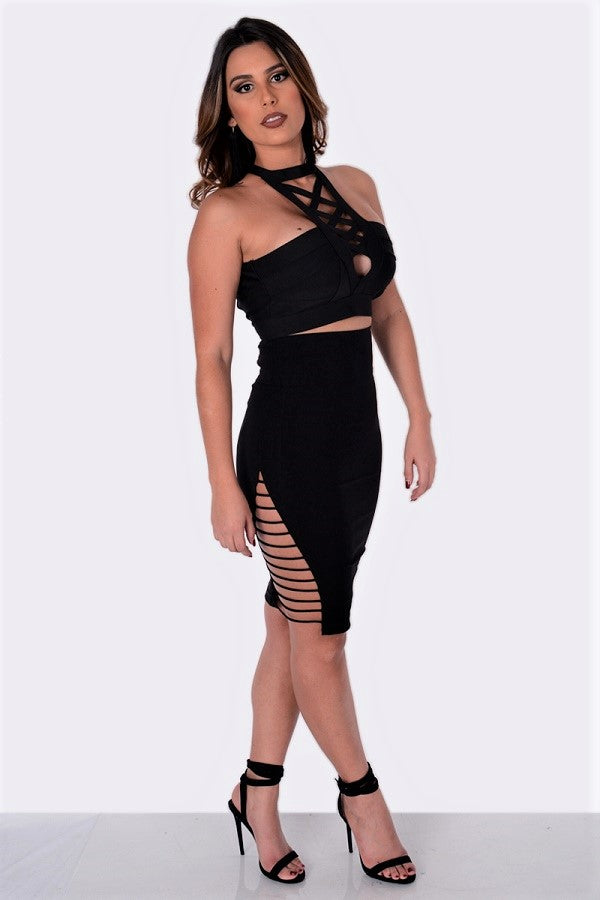 Fit Miami Style Side Strap Pencil Skirt Black