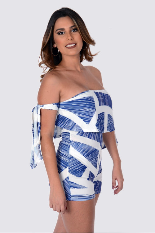 Buy Blue & White Off Shoulder Bandage Fashion Playsuit online by Fit Miami Style for $22.99