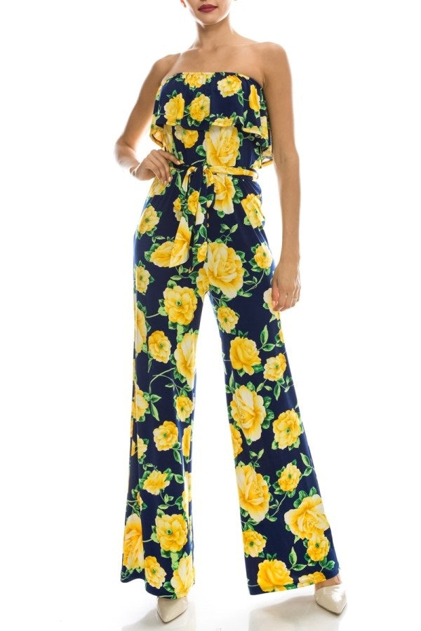 Fit Miami Style Floral Print Strapless Ruffle Jumpsuit