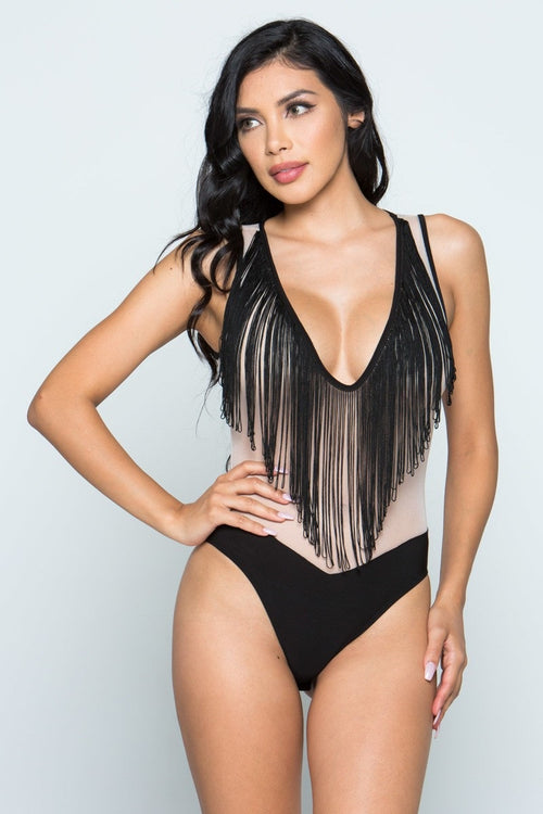 Fit Miami Style Fashion Plunge Neck Bodysuit