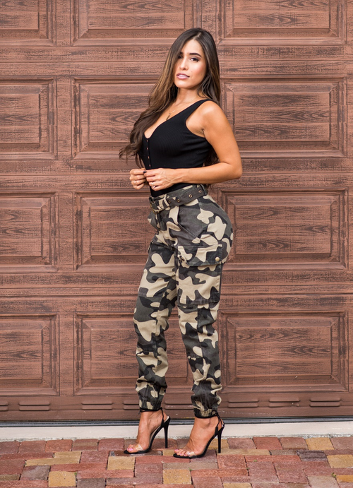 Camo High Waist Cargo Belted Jogger Pants Fit Miami Style