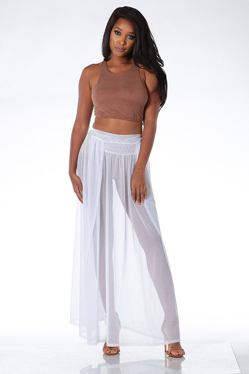 Buy Sheer Double Slit Maxi Skirt Cover Up online by Fit Miami Style for $29.99