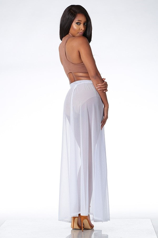 Buy Sheer Double Slit Maxi Skirt Cover Up online by Fit Miami Style for $25.99