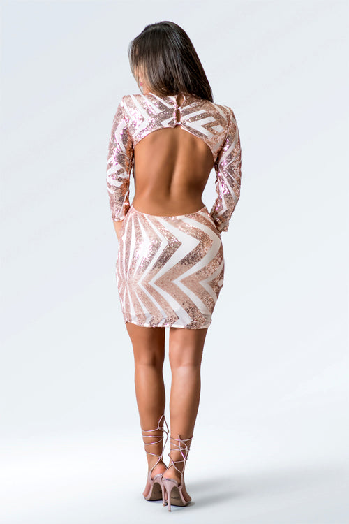 Fit Miami Style Sequin Open Back Dress