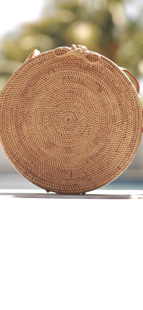 Round Wooden Crossover Bag