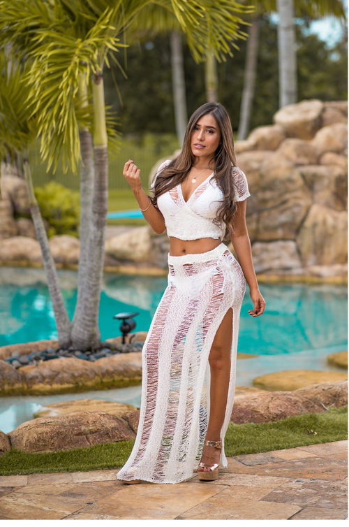 Knit Shreds Cover Up Set Fit Miami Style