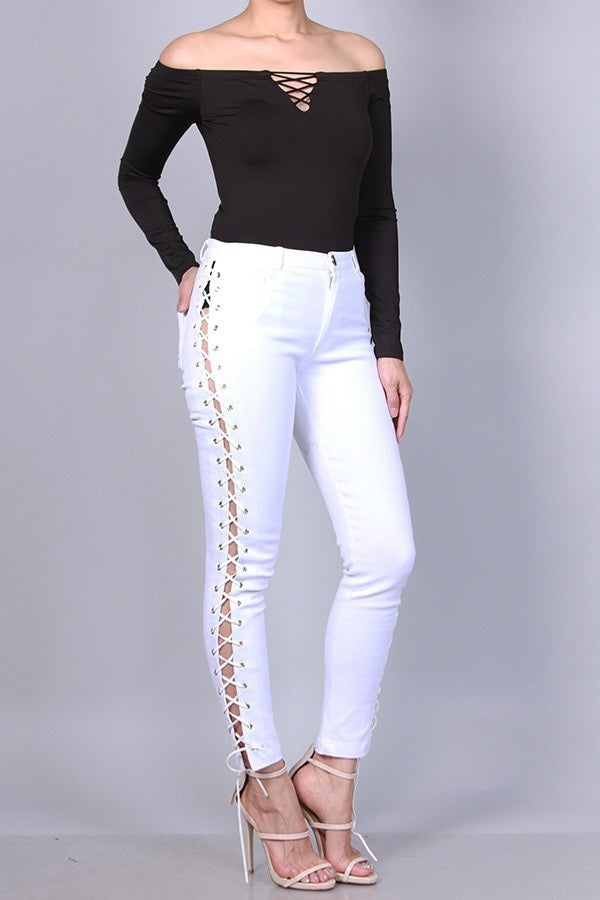 Fit Miami Style Side Lace Up Pants White