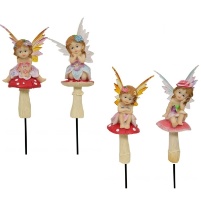 Fairies On Mushroom Garden Stakes