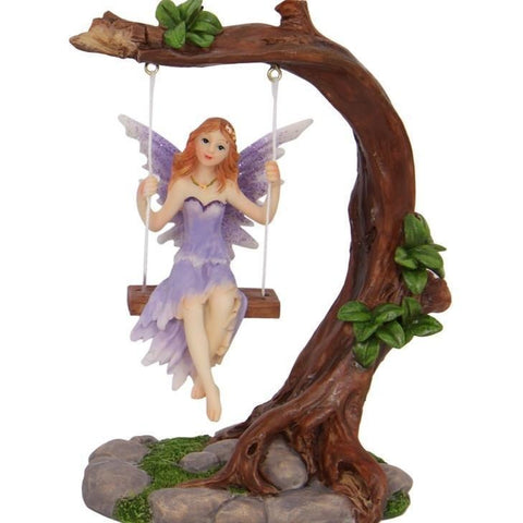 Fairy - Garden Fairy Figurine On Swing | Purple