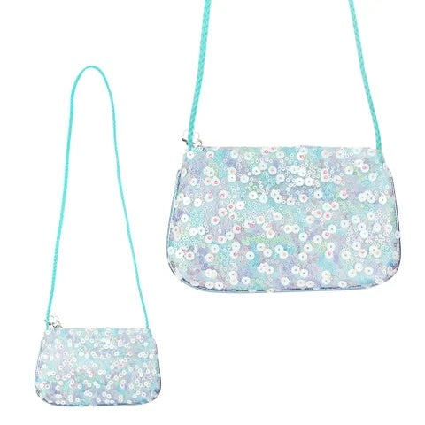 Bloom Sequin Hand Bag - Blue