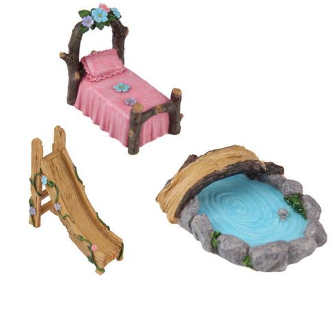 Fairy Garden Bed, Slide & Pond