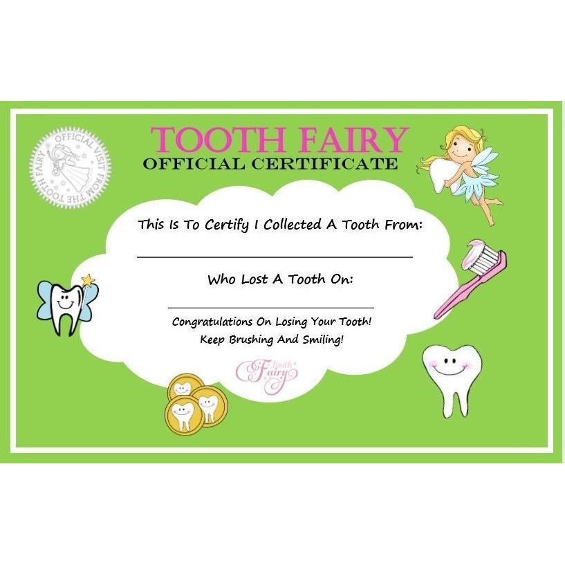 Tooth Fairy - Green Tooth Fairy Certificate