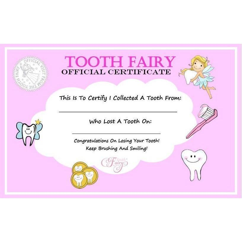Tooth Fairy - Pink Tooth Fairy Certificate