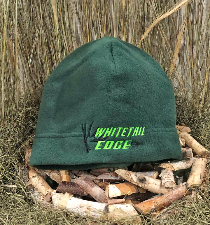 Spur Brand | Whitetail Edge | Shed & Broadhead Logo | Beanie | Hunter Green with Neon Green/Black Stitching
