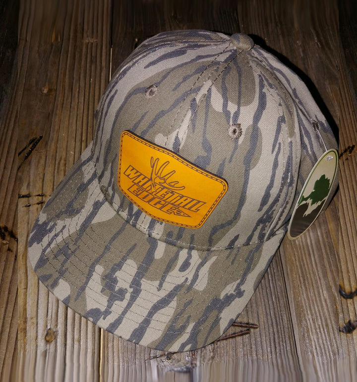 Whitetail Edge Leather Patch Snap-Back Cap - Mossy Oak Bottomland Camo - Hexagon Patch