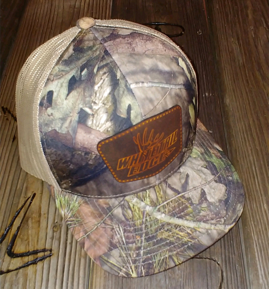 Whitetail Edge | Snap-Back Cap | Mossy Oak Break Up Camo/Tan | Leather Hexagon Patch