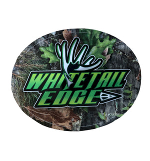 "Window Decal - Whitetail Edge ""Shed & Broadhead"" Oval Camo Logo - Neon Green/Black/White"