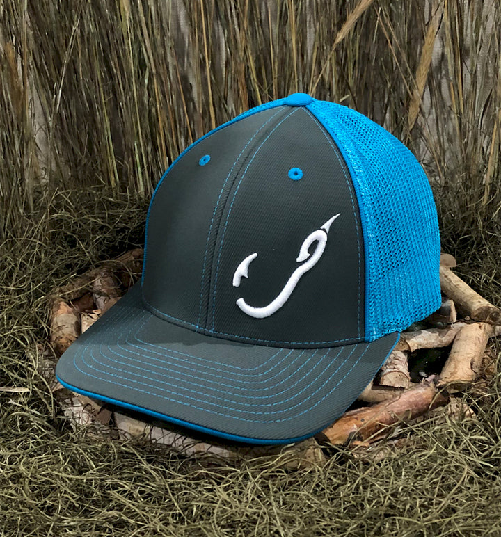 Spur Brand | Hk'd Fishing | Hook Logo | Flexfit Cap | Charcoal/Carolina Blue with White Stitching