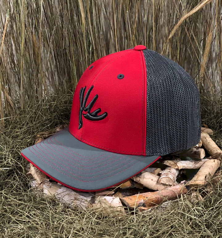 Spur Brand | Whitetail Edge | The Shed | 404M Flexfit Cap | Red/Charcoal with Black/Red Stitching | Front