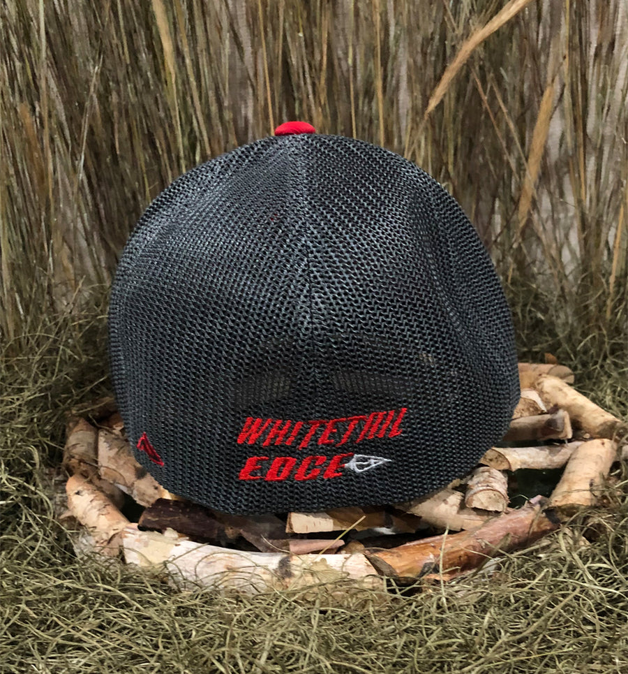 Spur Brand | Whitetail Edge | The Shed | 404M Flexfit Cap | Red/Charcoal with Black/Red Stitching | Rear