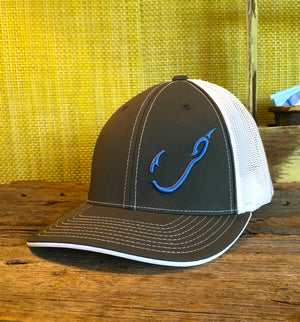 Bone Brand | Hk'd Fishing 404M Flexfit Cap | Graphite/White with Carolina Blue Stitching