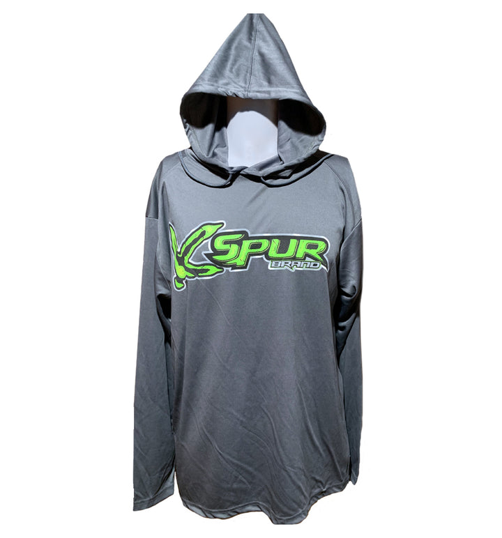 Spur Brand | Turkey Track Logo | Performance Hoodie | Charcoal Grey with Neon Green/Light Grey/Black