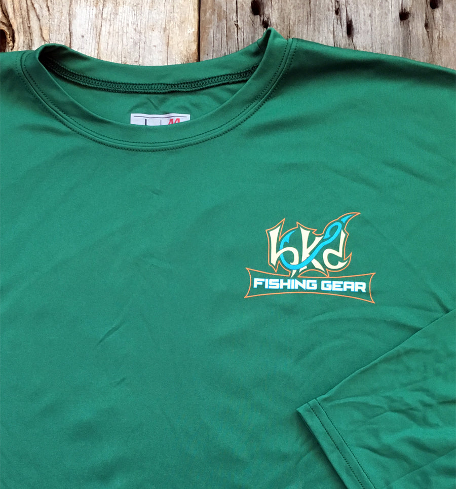 Bone Brand | Hk'd Fishing Gear | Bass Logo | Long Sleeve Performance Tee | Dark Green | Front