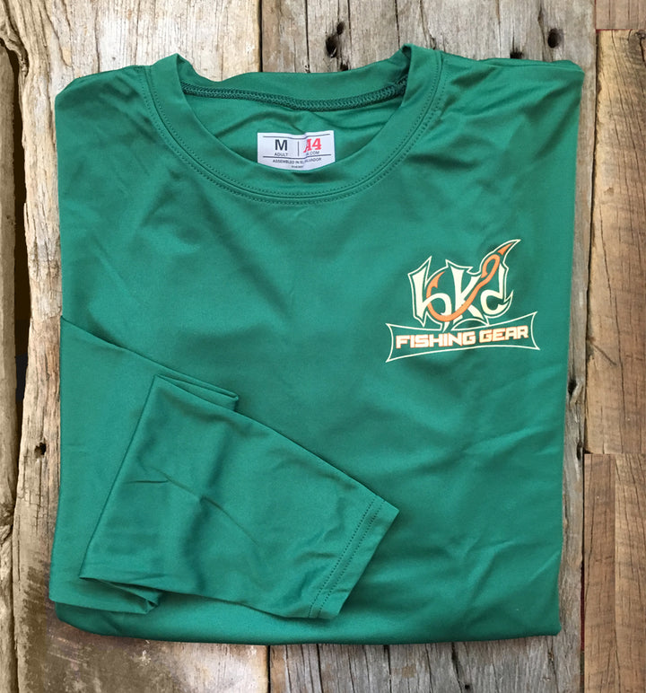 Bone Brand | Hk'd Fishing Gear | Hk'd Fishing Gear Logo | Long Sleeve Performance Tee | Dark Green | Front