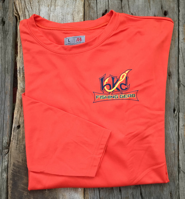 Bone Brand | Hk'd Fishing Gear | Dorado Logo | Long Sleeve Performance Tee | Orange | Front