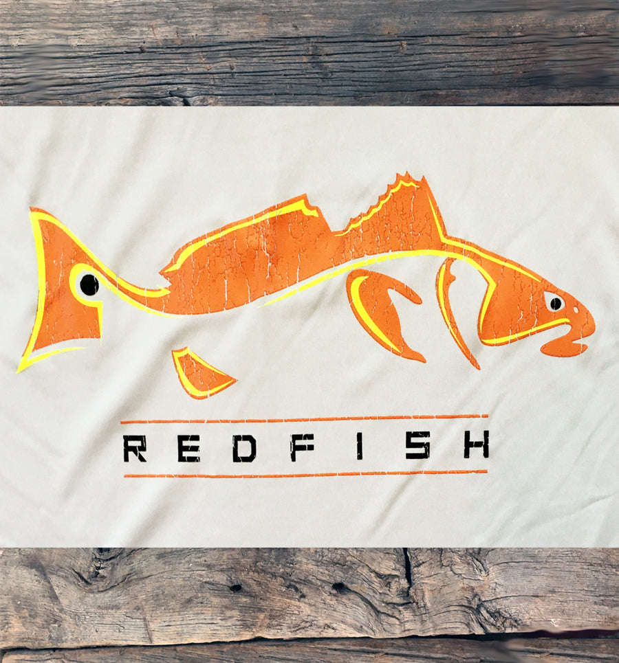 Bone Brand | Hk'd Fishing Gear | Redfish Logo | Long Sleeve Performance Tee | Light Grey | Rear